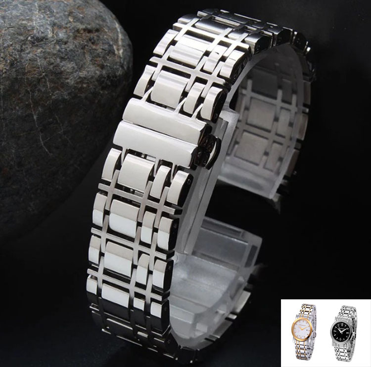20mm 16mm Curved End Watchbands Silver Stainless Steel Watch Strap Solid Link Bracelet for brand luxury watches free shipping 20mm 23mm curved end watchbands rubber wrap rose gold stainless steel watch strap solid link bracelet for ar5890 5905 5919 5858
