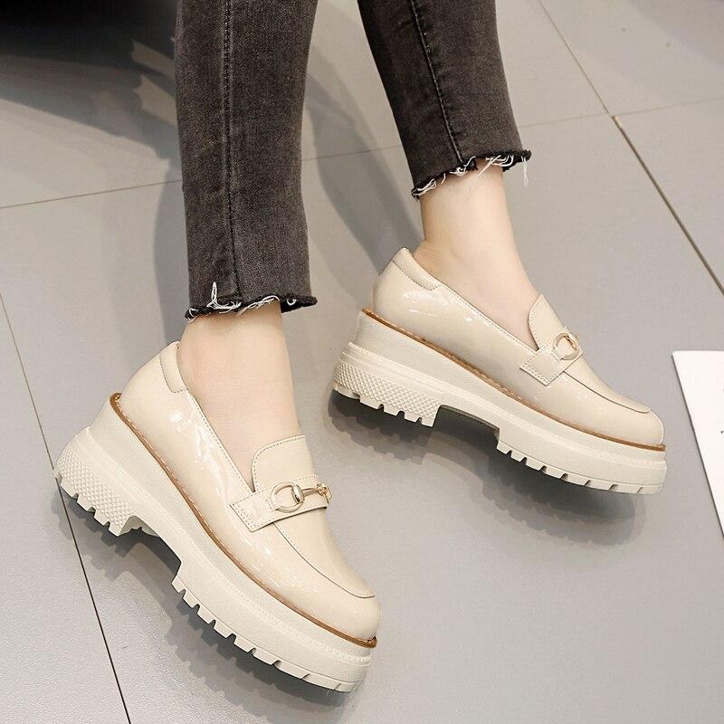 7803 Plate Xaxbxc Femme 2019 Haute forme Pompes Femmes Automne Casual Chaussures 7803 Lady Mujer Talons 7 Nouveau Cuir Épais Printemps En Cales De 7 Black Rice shtQrdxC