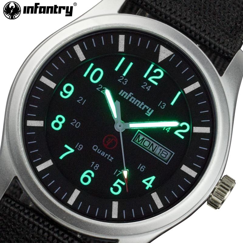 INFANTRY Brand Men Fashion Casual Watches Men Sport Military Quartz Analog Date Luminous Wristwatch Nylon Relogio Masculino