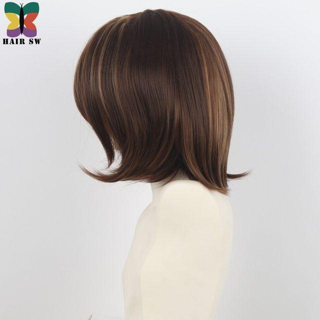 Online Shop Hair Sw Medium Length Straight Bob Wig Brown Hair Blonde