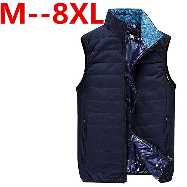 Bestseller Cotton Padded Man Winter Vest Coats 9XL 8XL 7XL 6XL 5XL New Pocket Design Mandarin Collar Men Warm Casual Waistcoat