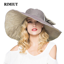 RIMIUT 2017 Fashion large brimmed sun hats Foldable womens sunhats Self-tie Bow women's hat Summer Beach Floppy Cap Headwear
