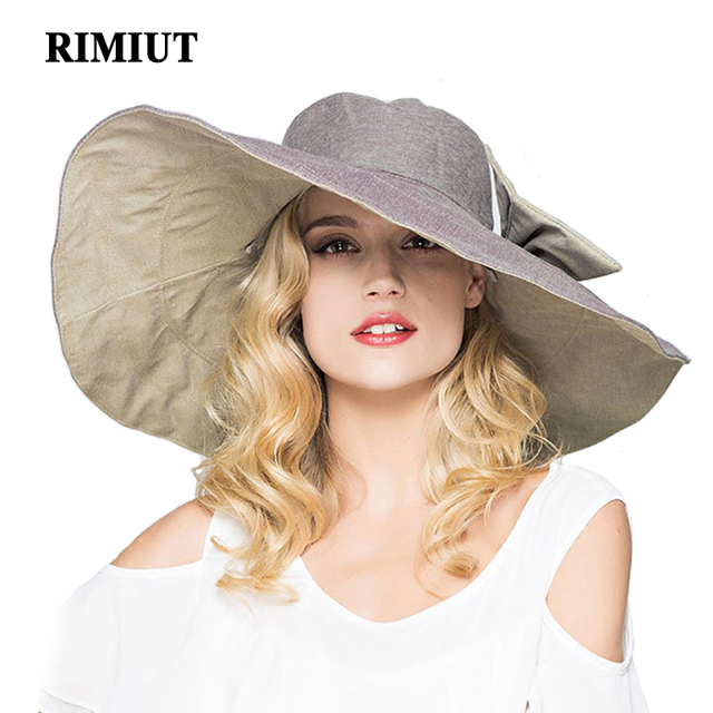 RIMIUT 2017 Fashion large brimmed sun hats Foldable womens sunhats Self-tie Bow  women s hat Summer Beach Floppy Cap Headwear 43c8d9dd6723