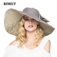 RIMIUT 2017 Moda büyük kenarlı güneş şapka Katlanabilir kadın sunhats Öz-kravat Yay kadın şapka Yaz Plaj Disket Cap Şapkalar