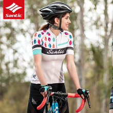 Santic Women's Cycling Jersey  Short Sleeve MTB Jersey Mujer Pro Fit Antislip Sleeve Cuff Downhill Road Bike Ladies Print Jersey 2016 life on track pro cycling jersey women long sleeve mtb road bike jersey downhill breathable