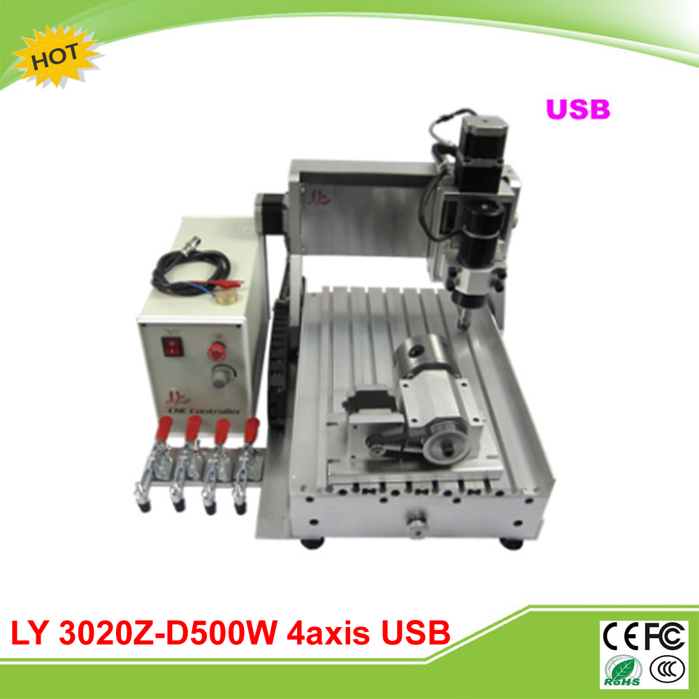 LY 3020Z-D500W USB 4 axis CNC router assembled mini lathe free tax to RU eur free tax cnc router 3020z s800 4 axis with 800w spindle mini cnc lathe machine for metal wood