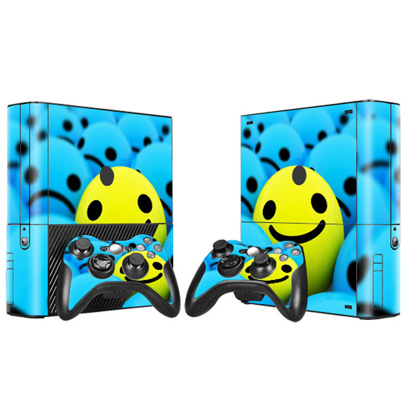 smile face design game decals for Xbox360 E console and 2 controllers skin stickers
