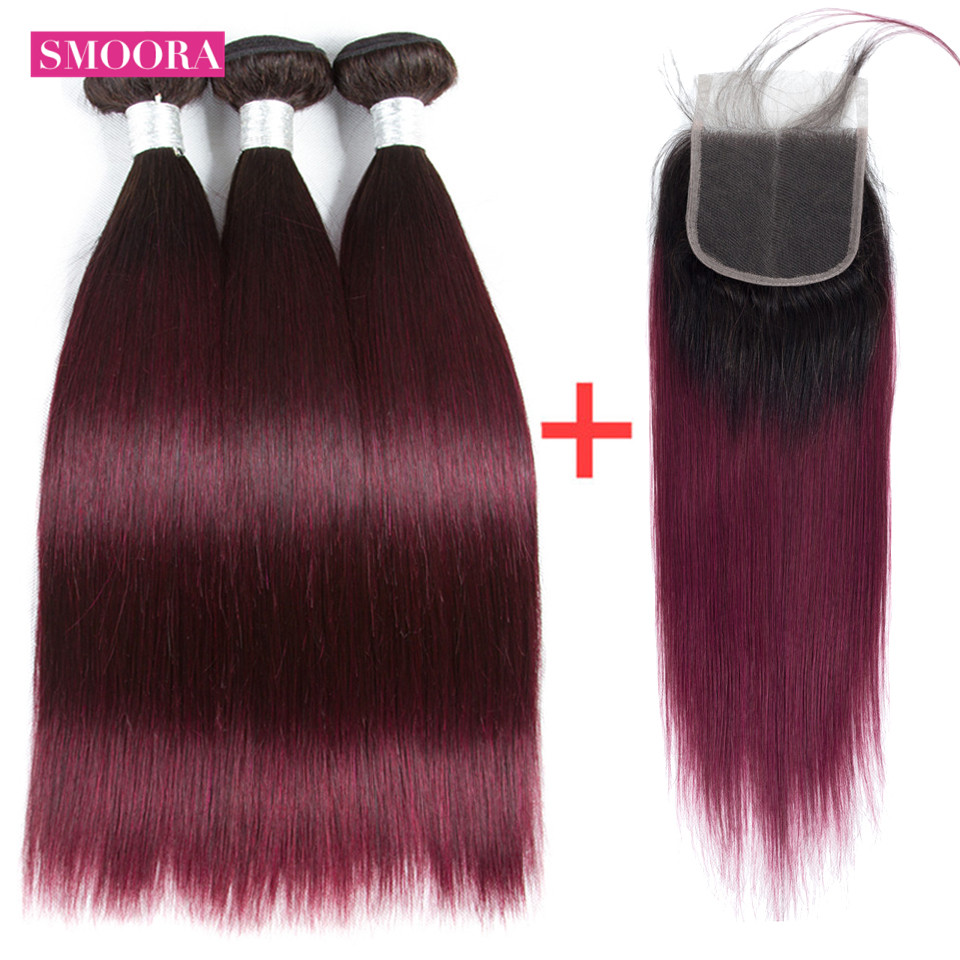Smoora Ombre Color 3 Bundles With Lace Closure #1B/99 Dark Roots Brazilian Straight Hair Ombre Bundles With Closure Non Remy