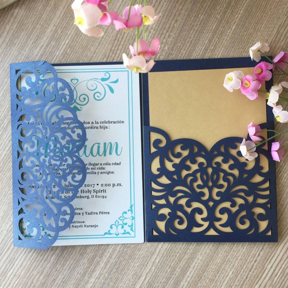 20pcs Laser Cut Flower Birthday Christening Decoration Tri Folded Envelop Rsvp Wedding Invitaiton Card Blessing Greeting In Cards Invitations From