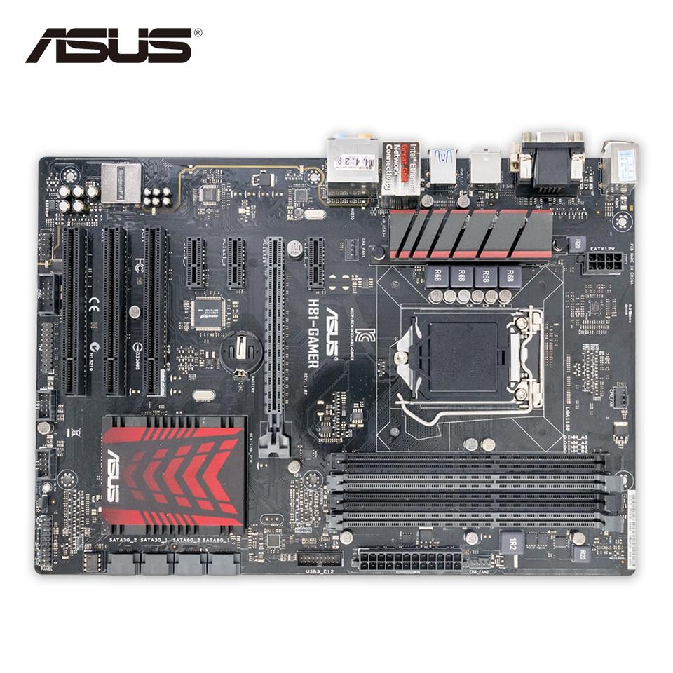 Asus H81-GAMER Original Used Desktop Motherboard H81 Socket LGA 1150 i7 i5 i3 DDR3 16G SATA3 USB3.0 ATX for asus p6td deluxe original used desktop motherboard for intel x58 socket lga 1366 for i7 ddr3 sata2 usb2 0 atx