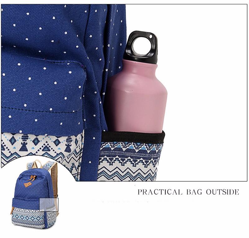 Canvas Printing Backpack Women School Bags for Teenage Girls Cute Bookbags Laptop Backpacks Female Bagpack 3 Piece one Set 15