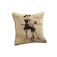 cartoon pattern 50x50cm jacquard Cotton & Linen back Cushion(include core) sofa/chair/seat home decorative Square Pillow