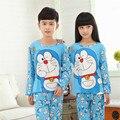 Pijamas de los niños 2016 de primavera y otoño de la nueva historieta de manga larga niños bebés niñas pijamas niños Ocasional ropa de noche fija ropa de Navidad