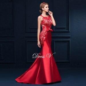 Image 4 - Dressv סקופ צוואר אפליקציות bowknot בת ים ארוך שמלת ערב אדום ללא שרוולים חצוצרת פורמליות שמלת מודרני בת ים שמלת ערב