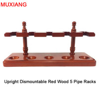 Muxiang roken gereedschap fittingen handgemaakte massief houten rechte lijn verticale type 5 pijp rekken demontabel romaanse voet fa0008