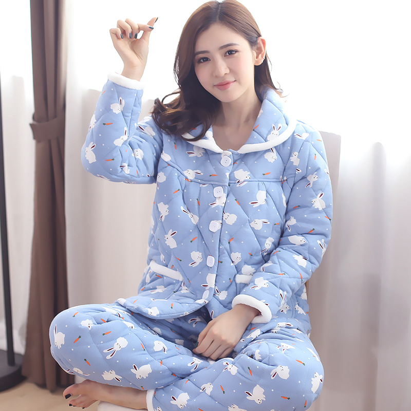 Women Sleepwear Autumn Winter Warm Cotton Quilted Pyjamas Plus Size Blue Pyjama Suit Nightwear 2 Pieces   Pajama     Set   For Ladies