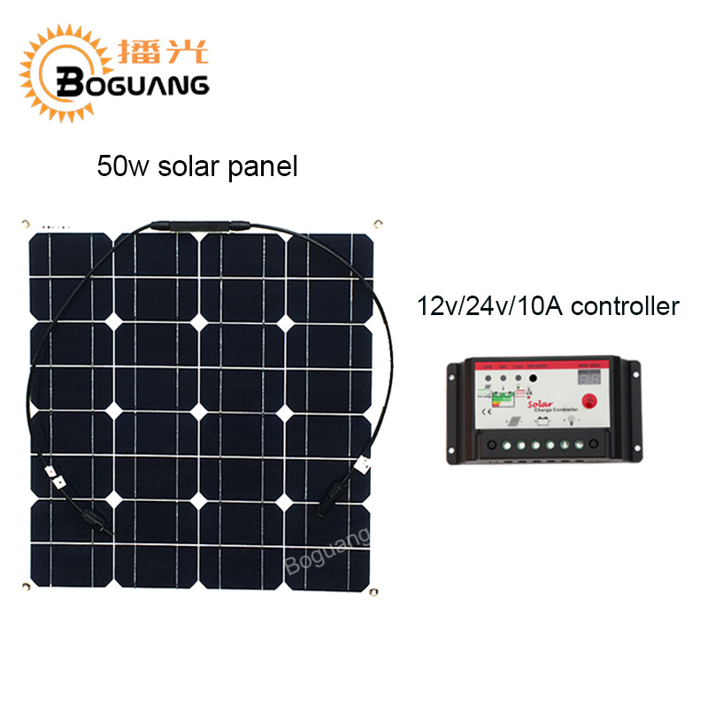 Boguang 50w solar panel Monocrystalline silicon cell module 12v/24v/10A controller DIY kit solar system for battery power charge 50w 12v semi flexible monocrystalline silicon solar panel solar battery power generater for battery rv car boat aircraft tourism