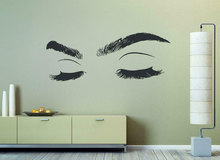 Fashion girl eyelashes eye wall decals vinyl stickers closed eyes, home room decoration  NH19