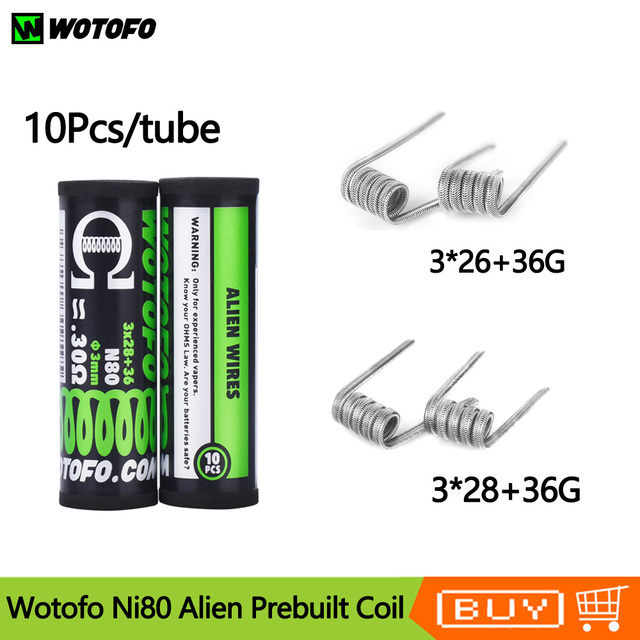 10 pcs/buis Originele Prebuilt Coil Wotofo Ni80 Alien Verwarming Coil Hoofd Vervanging Coil 0.22ohm/0.3ohm Voor RDA RTA Vape Tank