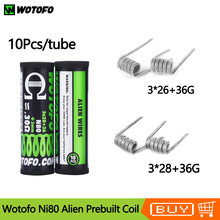 10pcs/tube Original Prebuilt Coil Wotofo Ni80 Alien Heating Coil Head Replacement Coil 0.22ohm/0.3ohm For RDA RTA Vape Tank(China)
