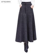 Винтажные полосатые шерстяные юбки для женщин, зима, модная офисная шерстяная теплая длинная Плиссированная юбка с высокой талией, Повседневная Женская длинная юбка