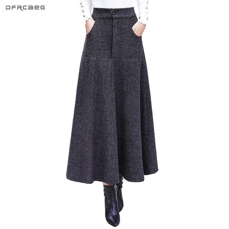 Vintage listrado saias de lã mulheres inverno 2018 moda cintura alta escritório lã quente plissado saia longa casual senhoras saia longa