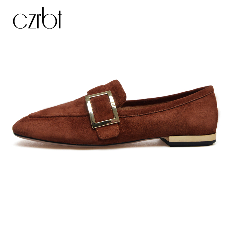 CZRBT Genuine Leather Women Shoes 2018 Spring Autumn High Quality Casual Loafers Women Square Toe Flat Shoes Metal Buckle Flats foreada ballet flats shoes genuine leather women 2018 shoes ankle strap buckle flat black pointed toe casual shoes ladies spring