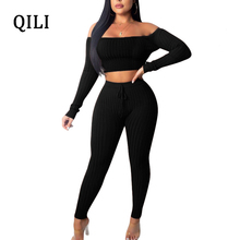 QILI Women Off Shoulder Jumpsuits Rompers Two Piece Set Solid Long Sleeve Jumpsuit Casual Womens Pit Twill Stretchy