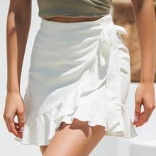 Сексуальная мини-юбка, модная женская однотонная кружевная короткая юбка с оборками, трапециевидная плиссированная шифоновая пляжная юбка Boho 038
