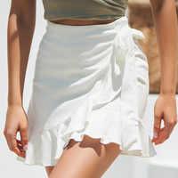 cb28233d1e0 Сексуальная мини-юбка модная женская однотонная оборки бандажная кружевная  короткая юбка А-силуэта плиссированная