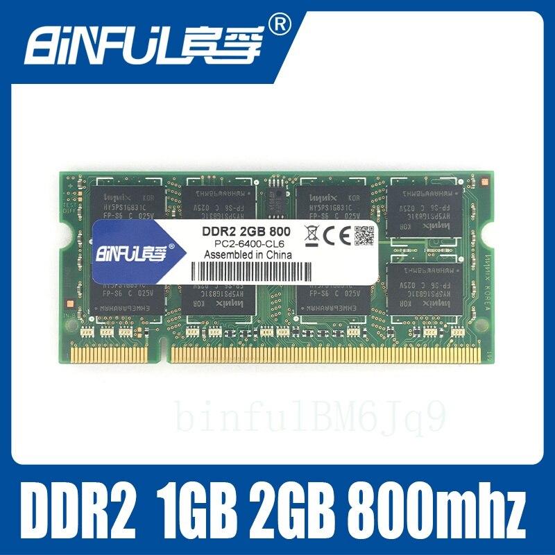 Binful 2GB PC2-6400S DDR2 800Mhz 200pin DDR2 2gb Laptop Memory 2G pc2 6400 800 MHZ Notebook Module SODIMM RAM Free Shipping