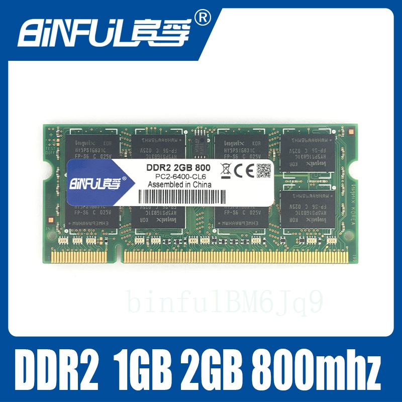 Binful 2GB PC2-6400S DDR2 800Mhz 200pin DDR2 2gb Laptop Memory 2G pc2 6400 800 MHZ Notebook Module SODIMM RAM Free