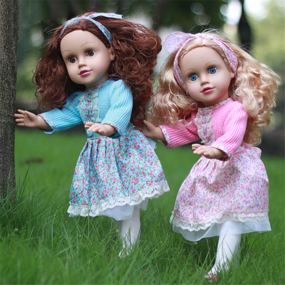 45 CM/17.72 Inch Baby Simulated Doll Vinyl Blink Reborn Girl Emulated Dolls Accompanying Doll for Baby Kids Gift