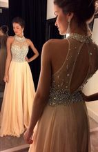 Sexy 2016 A Line High Neck Champagne Chiffon Long Bridesmaid Dresses Crystal Beading Wedding Floor Length Party Dresses