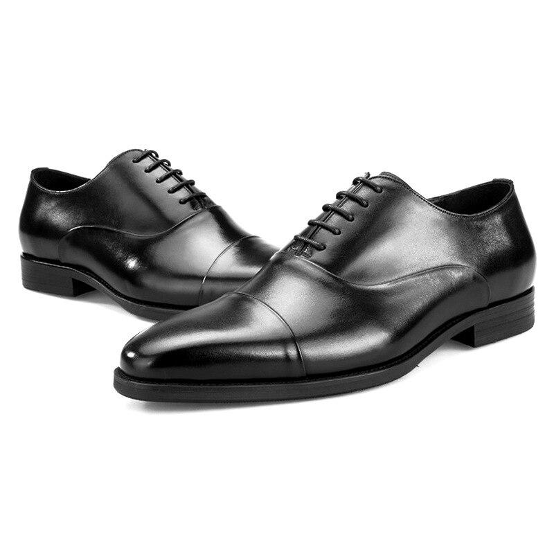 2019 Männlich Britischen brown Formale Braun Business Aus Qualität Top Leder Schuhe Herren Lace Up Hochzeit Black Oxford Echtem Kleid Schwarz 1pgx7qn