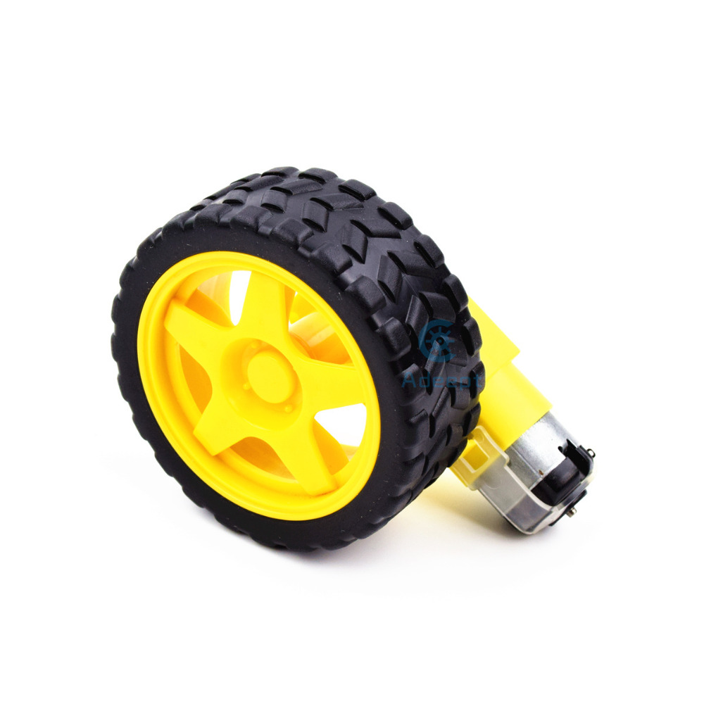 Adeept Smart Car Robot Plastic Tire Wheel with DC 3-6v Gear Motor for Arduino Freeshipping diy diykit 50 pcs 5mm x 2mm 8 teeth plastic gear wheel cog for diy toy car motor shaft