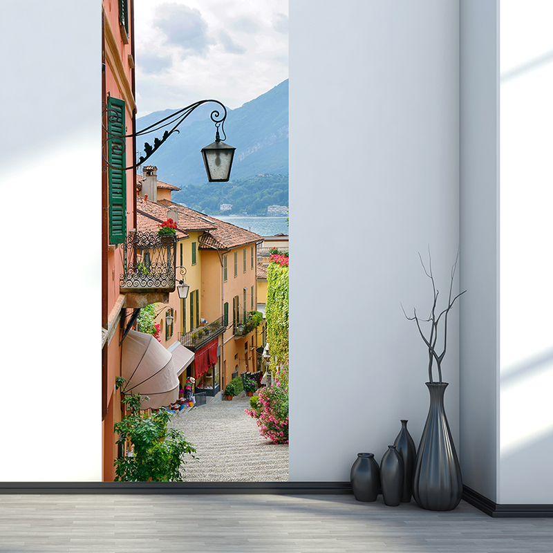 European Style Street Town 3D Mural Wallpaper Modern Creative DIY Door Sticker Living Room Bedroom Wall Stickers Home Decor 3 D