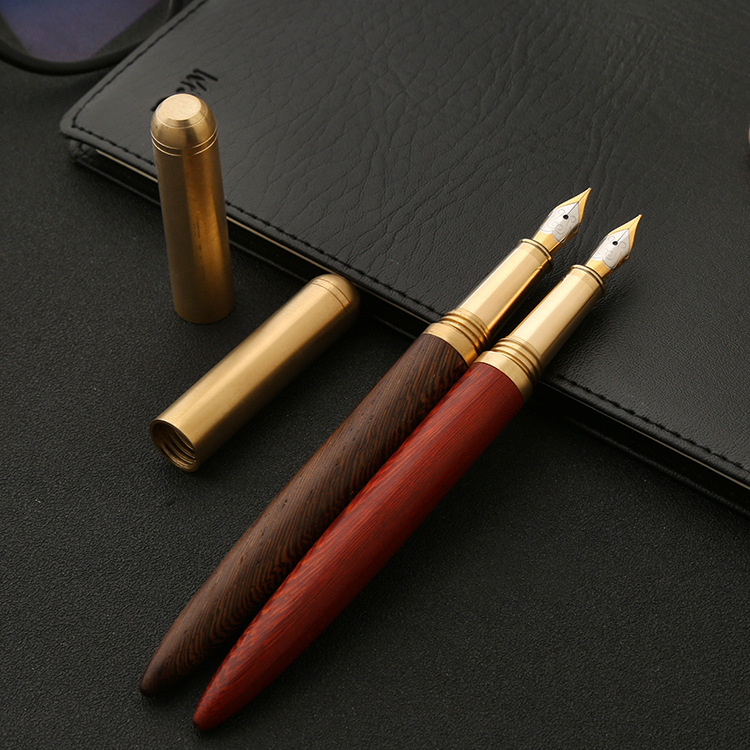 Metal Brass Sandalwood Fountain Pen High Quality Business Signature Pen Creative Gift For Office,school high top quality c shape brass metal