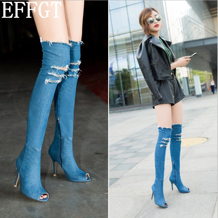 9f04442b805 EFFGT Sexy sandals denim over the knee boots woman side zip thin heels  thigh high boots