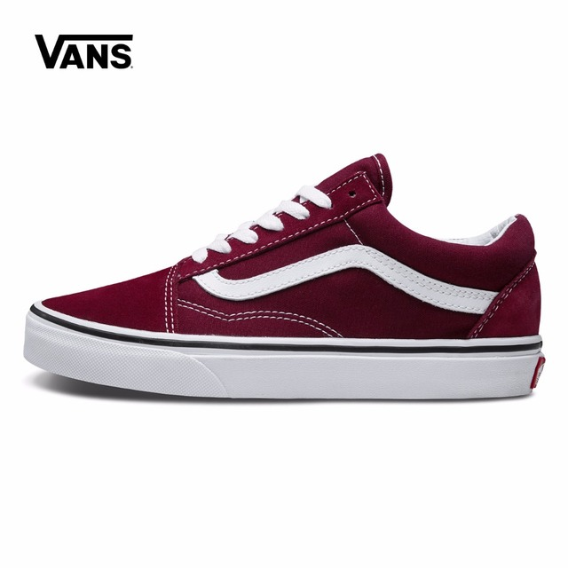 Original Vans Old Skool Red Colour Low-Top Men   Women s Skateboarding  Shoes Sport Shoes Canvas Sneakers free shipping 74fdb6c05