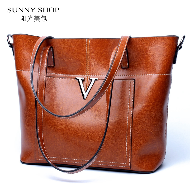 SUNNY SHOP Luxury Handbags Women Bags Designer Geuine Leather Shoulder Bags Vintage Women Messenger Bags and Purse American