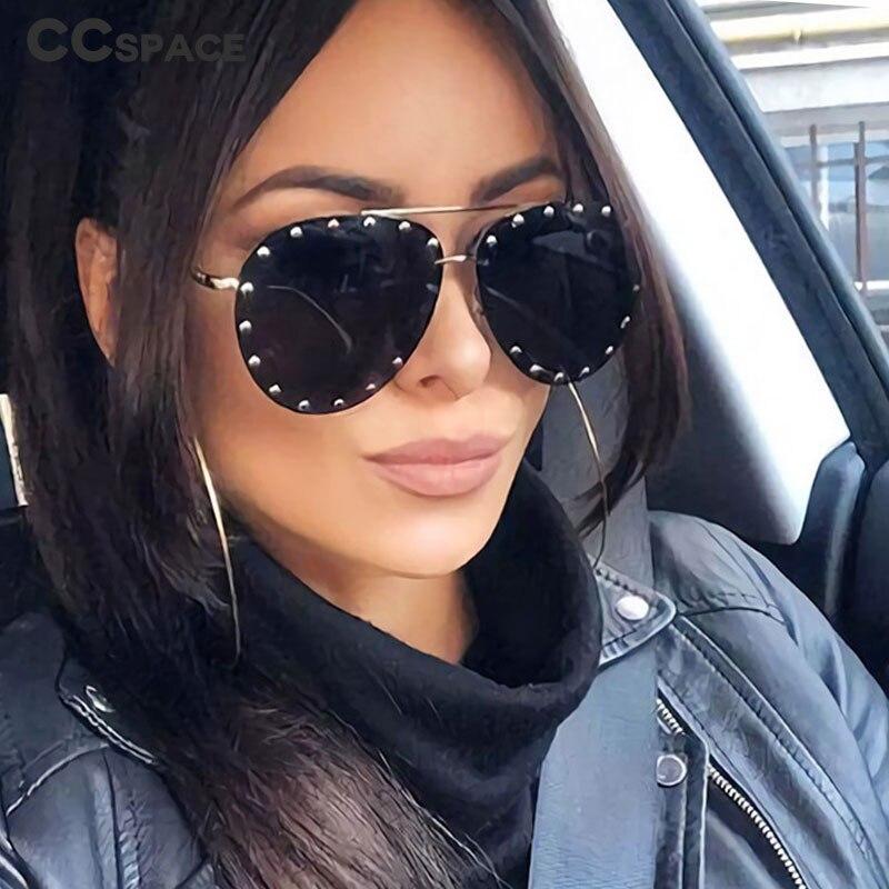 45202 Ladies Metal Rivet Pilot Sunglasses Women Luxury Personality Glasses Designer Eyewear Shades UV400