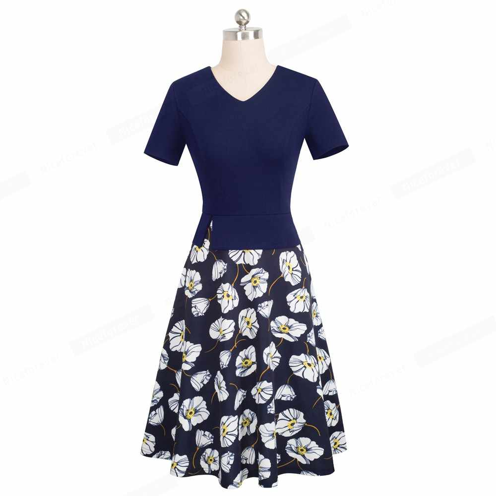 Nice-forever Ретро Винтаж с цветочным узором в стиле пэчворк; платье пинап с работа vestidos Бизнес вечерние расклешенное ТРАПЕЦИЕВИДНОЕ элегантное Для женщин свободное платье A137