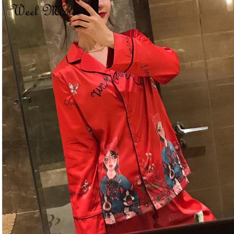 New Arrival 2018 Women Cute Girl Prints Pajamas Sets Comfortable Dog Homewear Pink Red Nightwear Sets