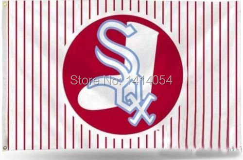 Chicago White Sox with modified Flag 150X90CM MLB 3x5 FT Banner 100D Polyester flag grommets 09, free shipping