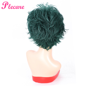 Image 3 - Plecare Short  Straight Wig Ombre Green  Heat Resistant Hair Synthetic Wig For Black/White Women Anime Cosplay/Party Wigs
