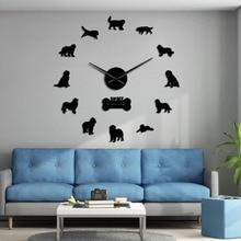 Watch Numbers Wall-Clock Newf-Decor Newfoundland Silent Stickers Mirror Quartz Postures
