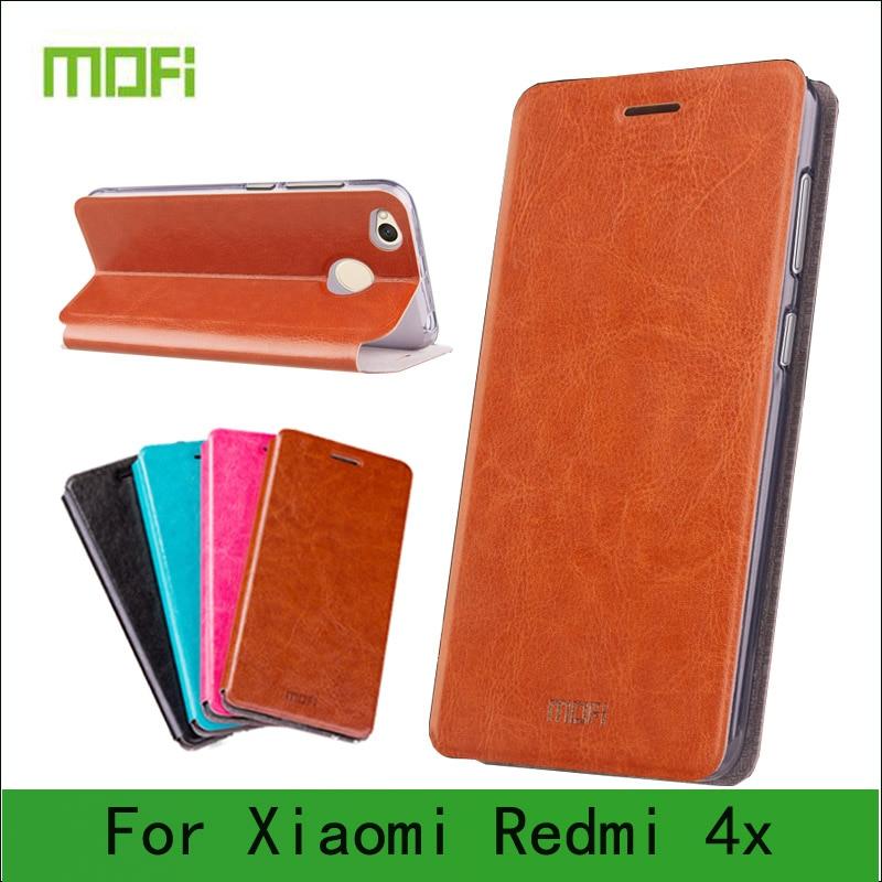 Mofi case para xiaomi redmi 4x case flip book style case para redmi 4x cubierta