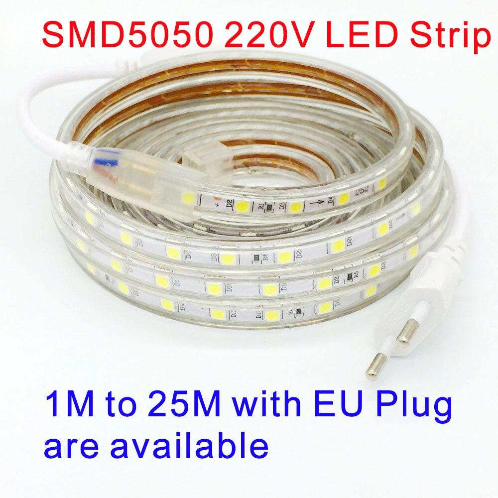 SMD 5050 AC 220V led strip flexible light 1M/2M/3M/4M/5M/6M/7M/8M/9M/10M/15M/20M + Power Plug 60leds/m Waterproof