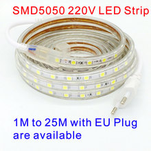 SMD 5050 AC 220V led strip flexible light 1M/2M/3M/4M/5M/6M/7M/8M/9M/10M/15M/20M + Power Plug 60leds/m Waterproof